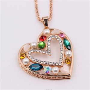 Hot Sale Colorful Diamond Heart Necklaces as Christmas Gifts