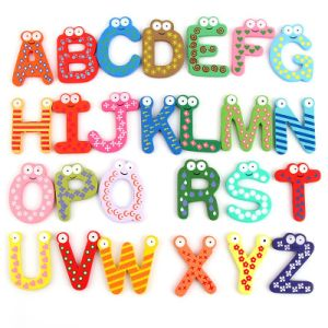 Wooden Alphabet Themed Anti-Rust Fridge Magnet Crafts for Home Decoration