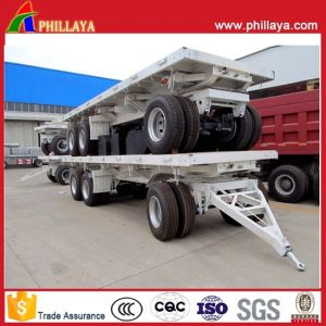 Four Axle Full Flatbed Side Posts Trailer with Turntable Drawbar pictures & photos