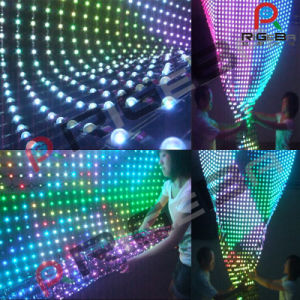 Soft Transparent LED Grid Flexible Wall Display Curtain Screen pictures & photos