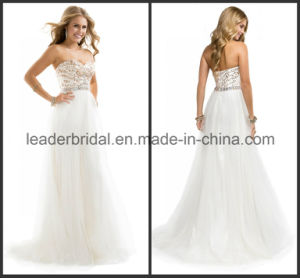 Gold Sequins Bridesmaid Evening Dress Fashion Tulle Prom Party Gowns Ld11549 pictures & photos