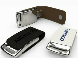Hotsale New Design Luxury USB Flash Drive, Embossed Logo Leather USB 1GB to 64GB pictures & photos