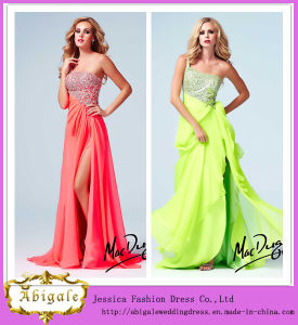 2014 Latest Fashion Sexy Light Green Sheath One Shoulder Low Back Sequins Bodice Evening Dress Chiffon Maxi Dresses (MN1412) pictures & photos