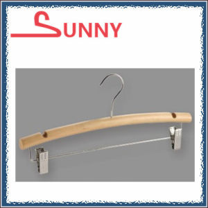 Hotel Wooden Pants/Trousers/Pants Hanger with Notches Clips Bar