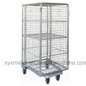 Wire Fully Sided Security Rolling Mobile Cage, Nestable Roll Container pictures & photos