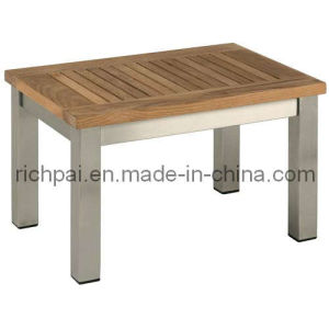 Stainless Steel and Teak Side Table (RPT010)