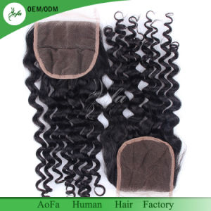 Knots Bleached Brazilian Human Hair Virgin Hair Lace Closure pictures & photos