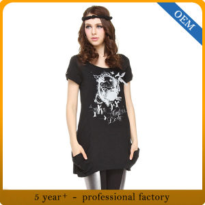 Factory Custom Women New Fashion Printed Cotton T-Shirt Dress pictures & photos