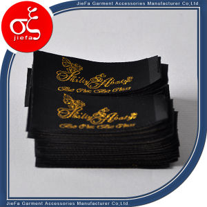Brand Black Label with Gold Metal Yarn for Clothing Label pictures & photos