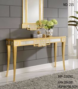 Vanity Design Gold Finish Console Table with Caved Shape pictures & photos