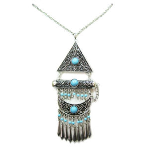 Turquoise Stone Pendant Fashion Jewelry Necklace