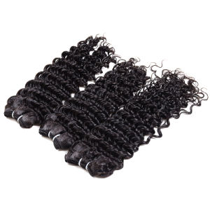 7A Virgin Hair Brazilian Deep Wave with Closure Cheap Human Hair Bundles Brazilian Virgin Hair with Closure Brazilian Deep Curly pictures & photos