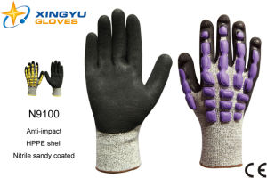 Hppe Shell Nitrile Sandy Coated Safety Work Glove (N9100) pictures & photos