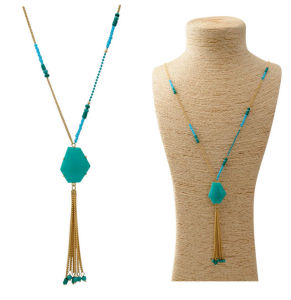 New Fashion European and American Alloy Long Necklace Long Chain and Resin Beads Tassel Pendant pictures & photos
