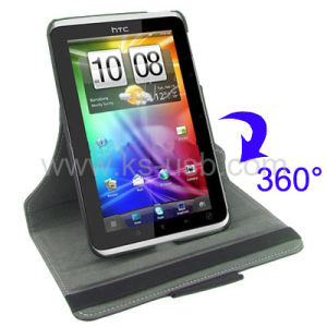 360 Degree Rotatable Leather Case with Holder for HTC Flyer