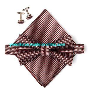 Economic Promotional Multi Colors Checks Mens Pocket Square Cufflink Self Bowtie Set pictures & photos