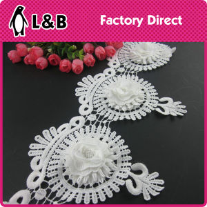 Free Sample Decorative White Poly New Shabby Flower Trim for Clothing pictures & photos