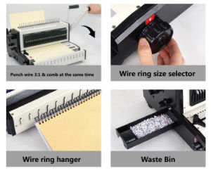 2-in-1 Manual Binding Machine for Comb and Wire (CW2016) pictures & photos