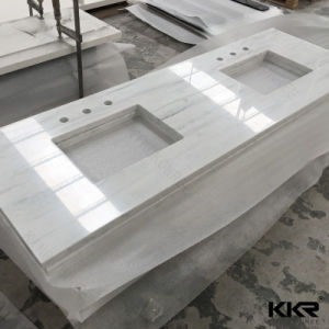 Kkr Solid Surface Bathroom Vanity Top with Two Sink Hole pictures & photos