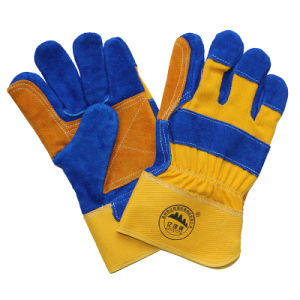 Double Palm Cow Split Leather Cut Resistant Work Gloves pictures & photos