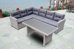 Garden Patio Rattan Wicker Outdoor Furniture Loungest Sofa Polywood Table (J725-POL) pictures & photos