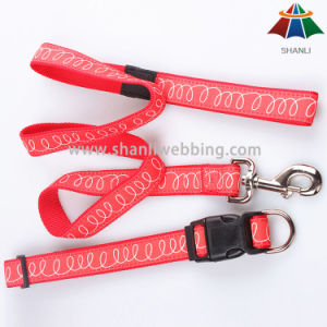 Hot-Sale High-Quality Red 15mm Webbing with White Line Polyester/Nylon Leash & Adjustable Collar pictures & photos