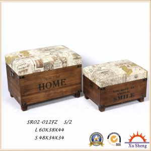 Wooden Fabic Print Storage Ottoman Stool Wooden Trunk pictures & photos