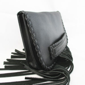 Ladies′ Leather Fringed Clutch Hand Bag in Black pictures & photos