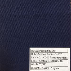 Cotton 10*10 80*46 320GSM Flame-Retardant Fabric for Protective Clothes Functional Textile pictures & photos