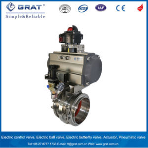 Double Clips Connection Stainless Steel 316L Pneumatic Butterfly Valve pictures & photos