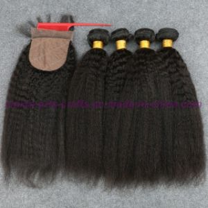 8A Brazilian Virgin Hair Kinky Straight with Silk Base Closure Silk Base Closures with Bundles