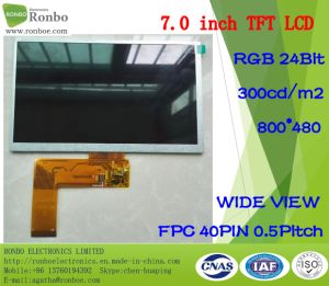 7 Inch 800X480 RGB 40pin 300CD/M2 Video/GPS TFT LCD Module pictures & photos