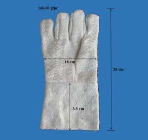 Heat Resistant Glass Fiber Safety Glove with Knitted Fabric Liner & Long Sleeve pictures & photos
