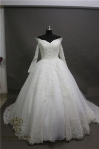 Ivory Beading A-Line Chapel Train Lace Fashion Women Bridal Wedding Dress pictures & photos