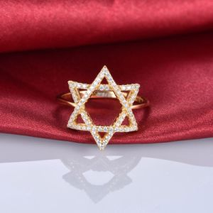 Gold Diamond Paved Hexagram Band Ring - Zr3154 pictures & photos