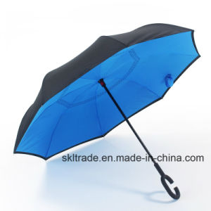 Pure Colors Portable Handsfree Straight Reverse Inverted Umbrella pictures & photos