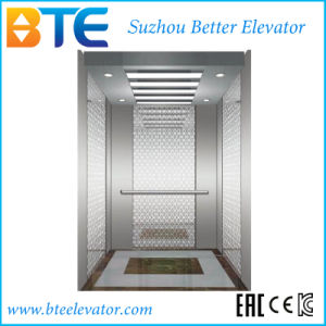 Vvvf Popular Gearless Traction Passenger Elevator with Mirror Etched Cabin
