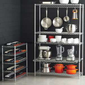 Fashion Design and Eco-Friendly Feature Chrome Metal Wire Kitchen Shelf pictures & photos