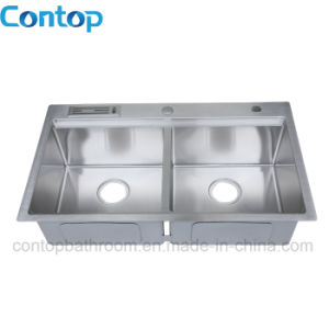 Topmount Handmade Stainless Steel Double Bowl Kitchen Sink pictures & photos