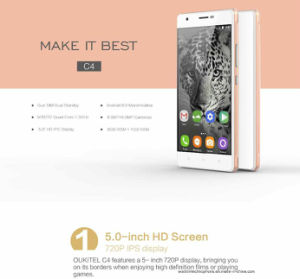 Oukitel C4 5.0 Inch HD Screen Mobile Phone 1GB RAM+8GB ROM 2000mAh Cell Phone Mtk6737 Quad Core Android 6.0 Smart Phone White pictures & photos