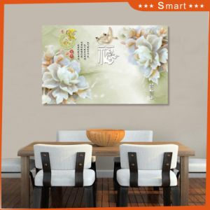 Imitative Relief Sculpture Fortune Comes with Blooming Flowers Design UV Printed on Ceramic Tile pictures & photos
