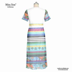 Miss You Ailinna 802072 Girls Sweet Colorful Stripe Mesh Mxi Dress pictures & photos