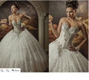 2015 Lace Wedding Gowns Strapless Wedding Ball Gown Dress W14925