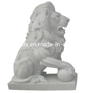 Chinese White Marble Stone Animal Lion Carving Statue for Garden pictures & photos