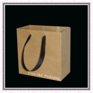 Brown Kraft Paper Gift Bags With Ribbon Handle (JCBB-1064)