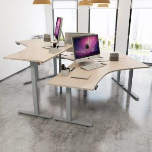 Electric Height Adjustable Walnut L Shaped Desk Table pictures & photos