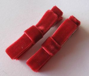 Red Velvet Clip, Hair Clippie, Itty Bitty Bow, Applicant Clip, Velvet Baby Bow