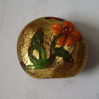 Gold Foil Lampwork Glass Beads