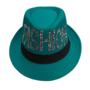 Personalized Fashion Promotional Custom Logo Polyester Fedora Hats for Girl pictures & photos