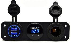 Waterproof LED 12-24V 3.1A Motorcycle Car Dual USB Power Charger Port Socket USA